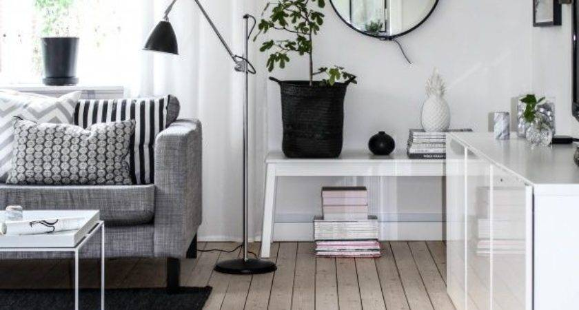 Black White Living Room Ikea Karlstad Sofa Isunda
