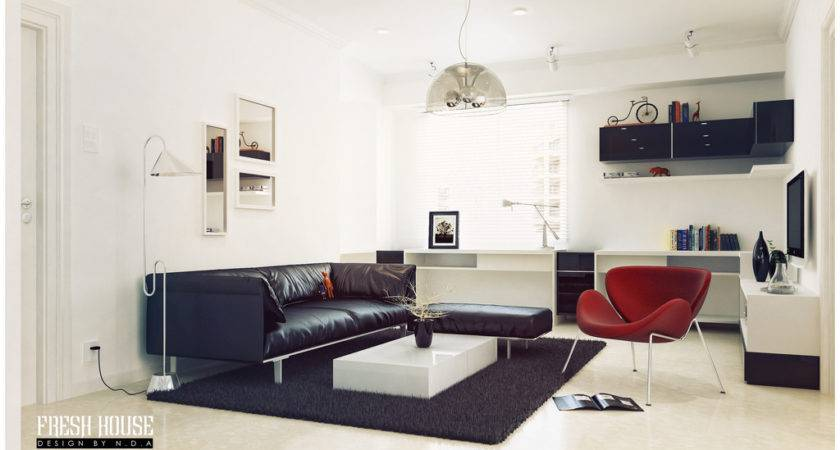 Black White Living Room Red Accents Design Olpos