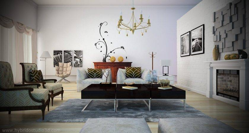 Black White Living Room Yellow Chandelier Chairs