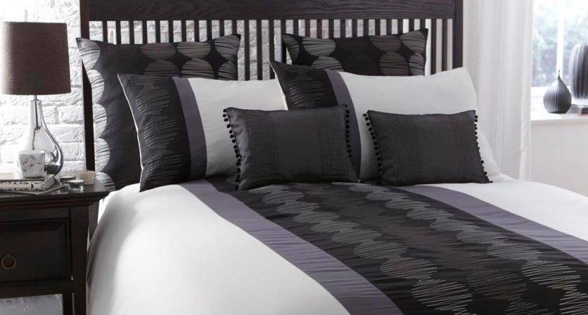Black White Pewter Grey Striped Bed Linen Duvet Cover