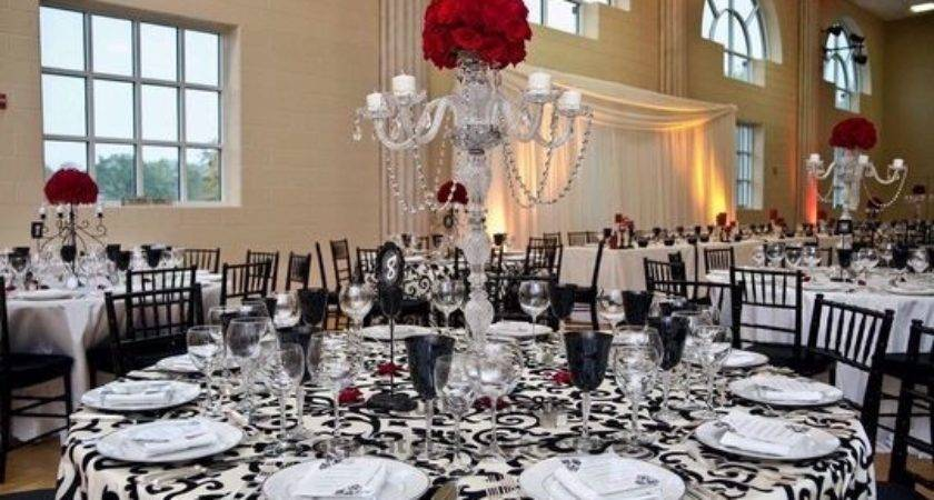 Black White Red Damask Table Decorations Frompo