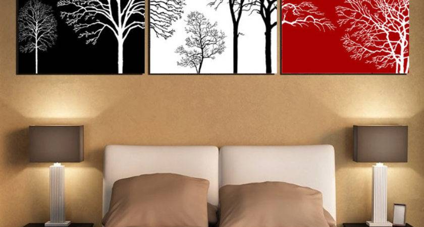 Black White Red Tree Modern Wall Art Oil Painting Home