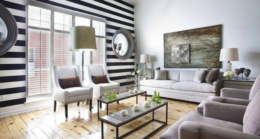 Black White Striped Wall Transitional Living Room