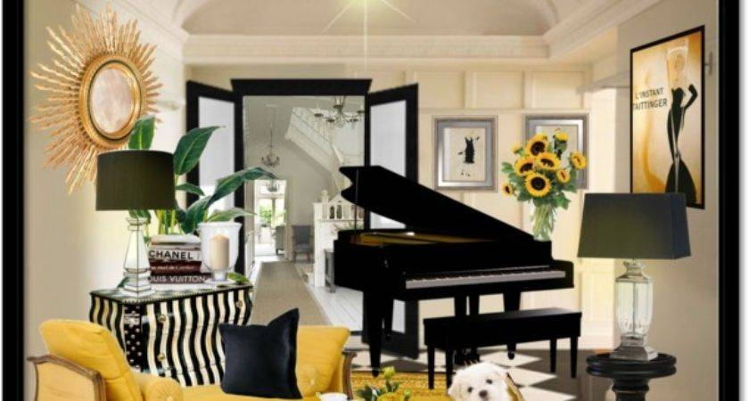 Black Yellow White Music Room Polyvore