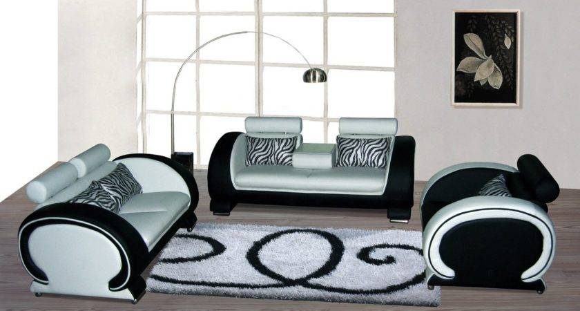 Blossom White Black Top Graded Real Leather Sofa