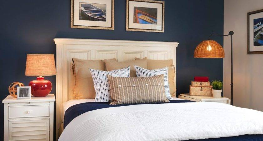 Blue Accent Wall Bedroom Traditional White Curtains