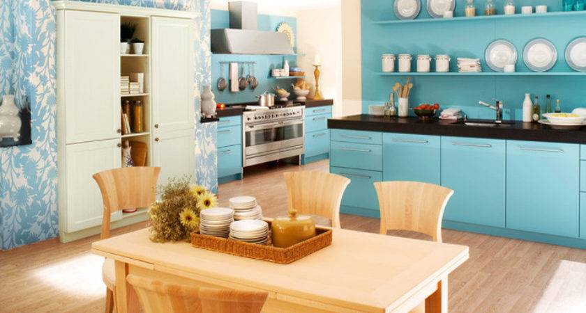 Blue Color Kitchen Interior Design Ideas Home Office