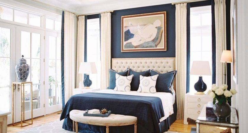 Blue Cream Scheme Bedroom Contemporary Colbalt