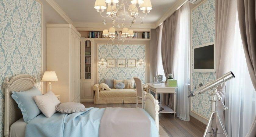 Blue Cream Traditional Bedroom Interior Design Ideas