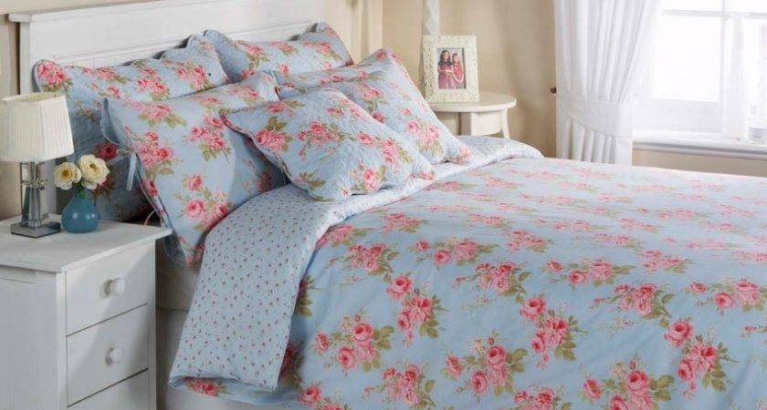 Blue Floral Cotton Bedding Bed Linen Duvet Cover Set
