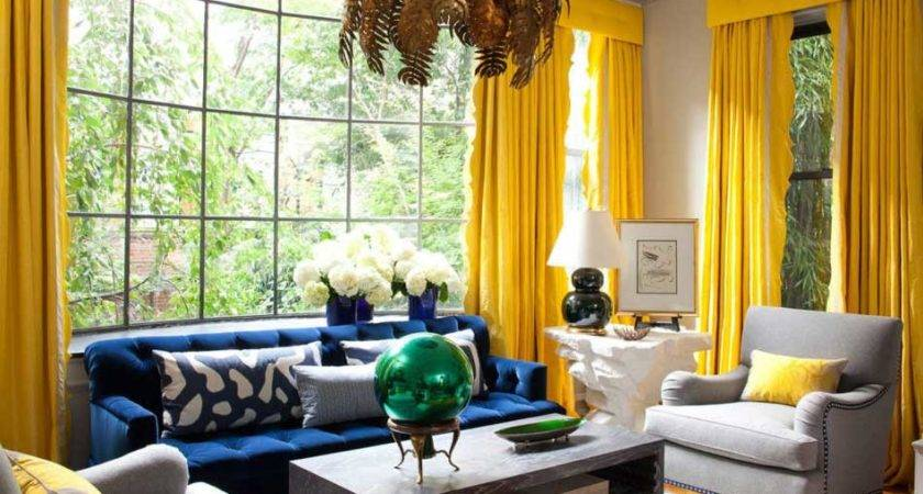Blue Gray Yellow Living Room Ideas Home Interior Exterior