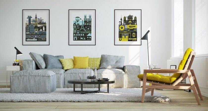 Blue Gray Yellow Living Room Peenmedia