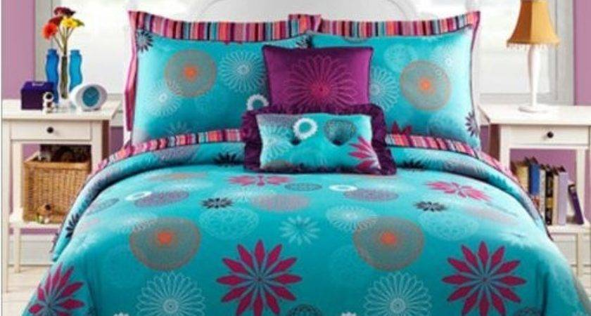Blue Purple Teen Girls Twin Comforter Set Bonus