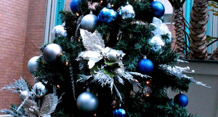 Blue Silver Decorated Christmas Tree Festival