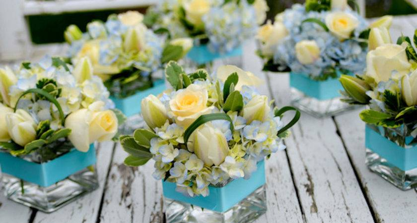 Blue White Flower Centerpieces