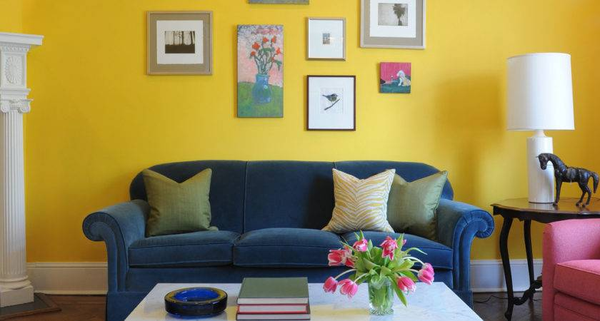 Blue Yellow Combination Interior Wall Colour Home