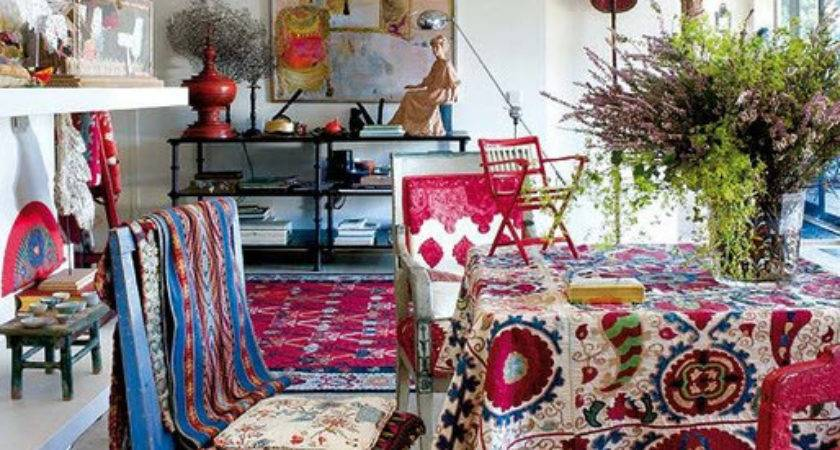 Bold Color Bohemian Dining Room Seven Colors