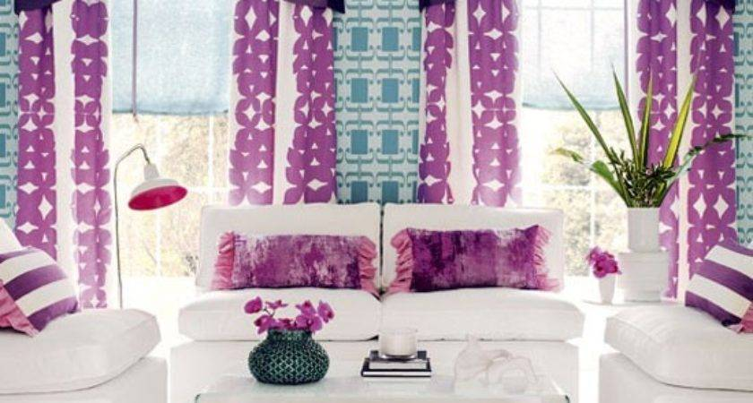 Bold Purple Living Room Colourful Idea