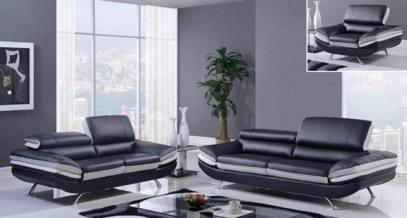 Bonded Leather Two Toned Black Gray Piece Sofa Set
