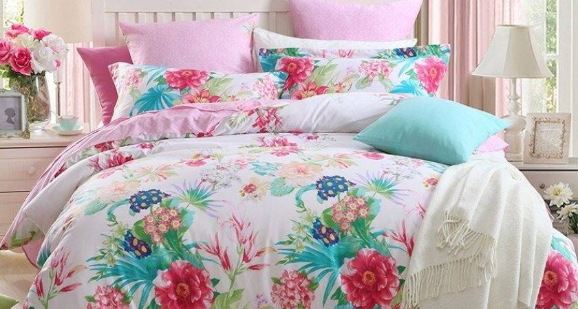 Bright Colored Colorful Floral Print Tropical Style