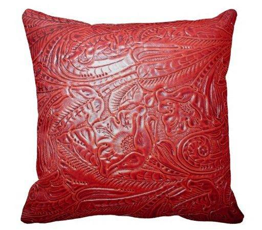 Bright Rich Red Tooled Leather Look Throw Pillows Zazzle