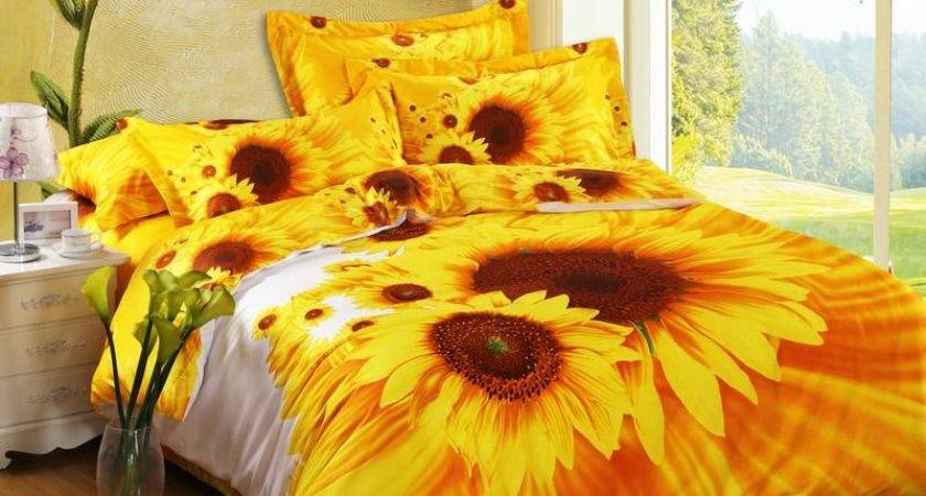 Bright Yellow Orange White Sunflower Print Cotton