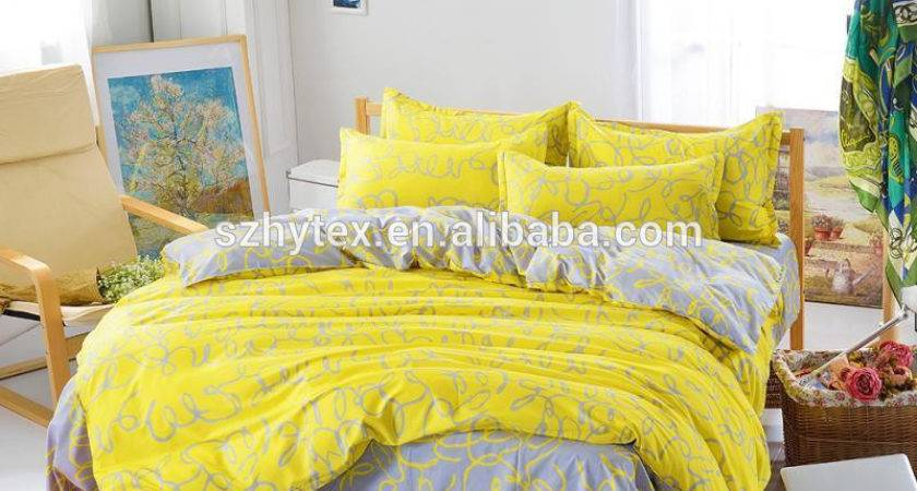 Bright Yellow Single Double Queen King Bed Set