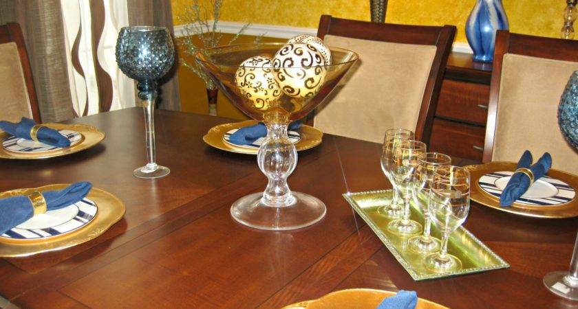 Brown Blue Gold Dining Room Decor Pretty House