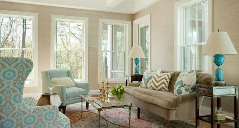 Brown Blue Living Room Transitional