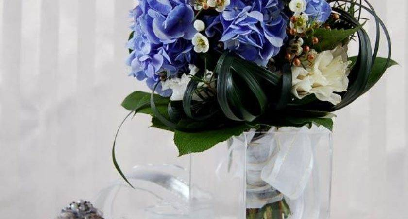 Brown Blue Wedding Centerpiece Ideas