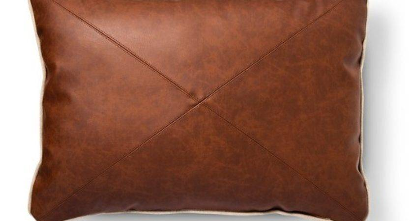 Brown Faux Leather Oblong Throw Pillow Threshold Target