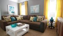 Brown Gray Teal Yellow Living Room Sectional