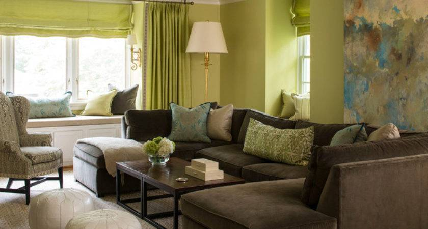 Brown Green Living Room Shaped Sectional