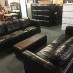 Brown Leather Effect Lounge Suite Seater