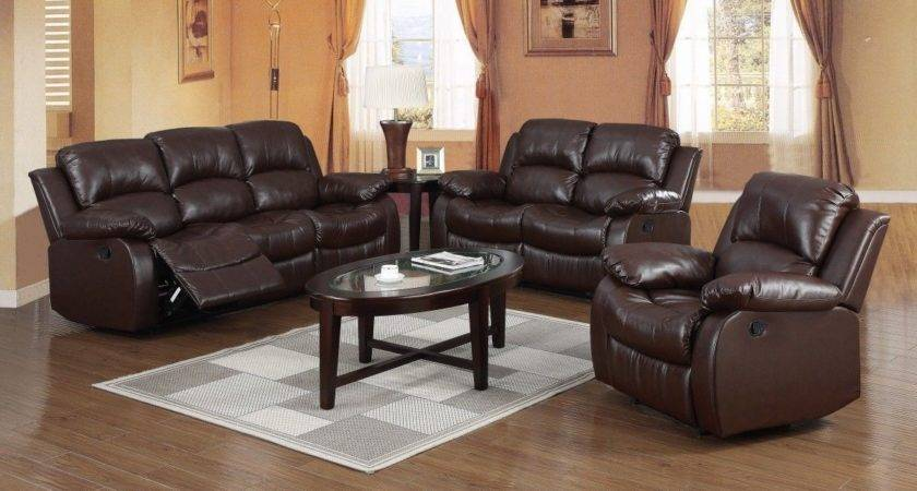 Brown Leather Recliner Seater Sofa Suite Homegenies