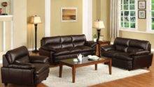 Brown Leather Sofa Furniture Set White Fabric Rug