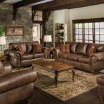 Brown Leather Sofa Rectangular Dark Wooden Table