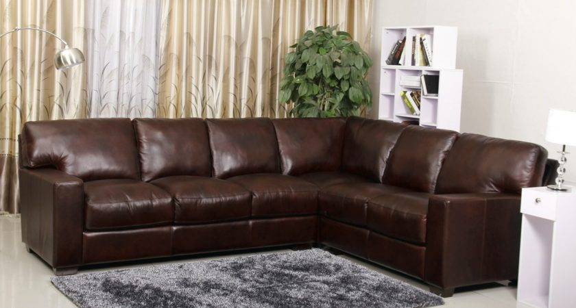 Brown Leather Suede Sofa Right Chaise Ivory