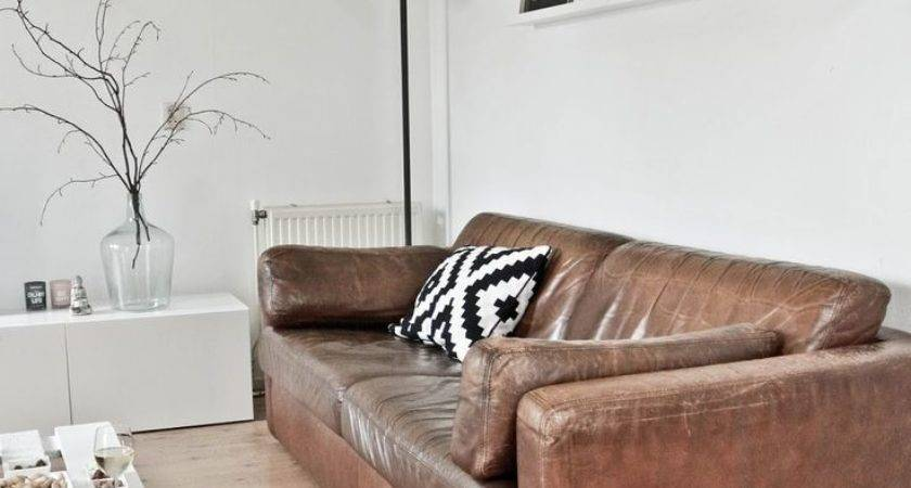 Brown Sofa Furniture White Coffee Table Above Wooden