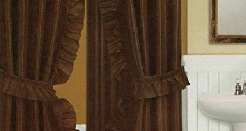 Brown Solid Ruffled Double Swag Fabric Bathroom Shower