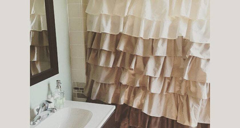 Brown Tan Beige Ruffled Shower Curtain Can Custom