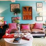 Brown Turquoise Living Room Cottage