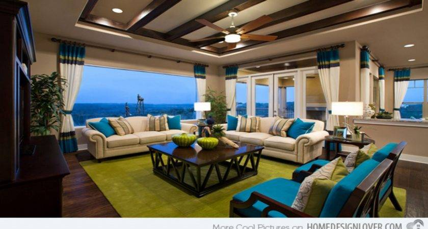 Brown Turquoise Yellow Living Room Modern House