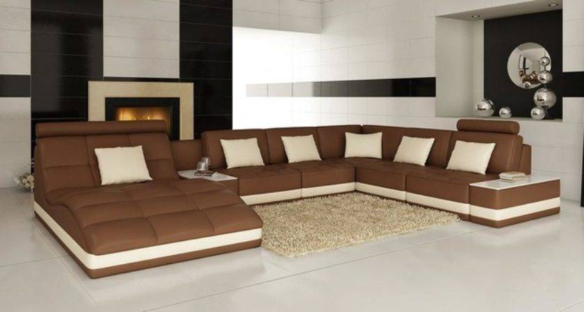 Brown White Bonded Leather Sectional Sofa Chaise