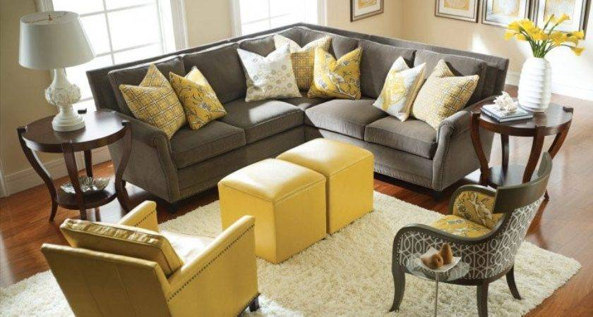 Brown Yellow Living Rooms Modern Grey Room