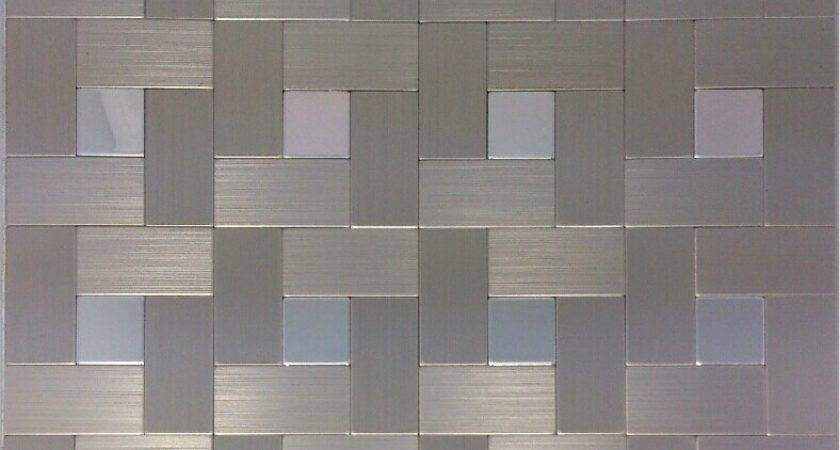 Brushed Silver Metal Mosaic Wall Tiles Backsplash Almt
