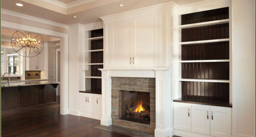 Built Bookshelves Around Fireplace American Hwy