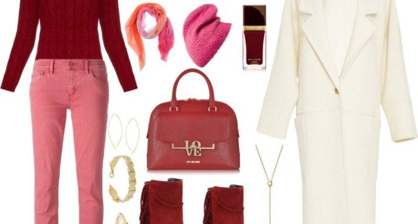 Burgundy Sweater Pink Jeans White Coat Fashion Wants