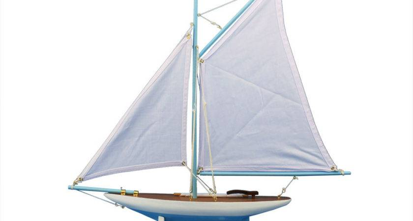 Buy Wooden America Cup Contender Light Blue Model