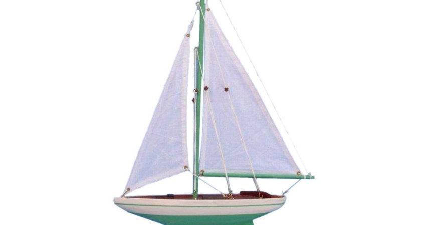 Buy Wooden Green Pacific Sailer Model Sailboat Decoration